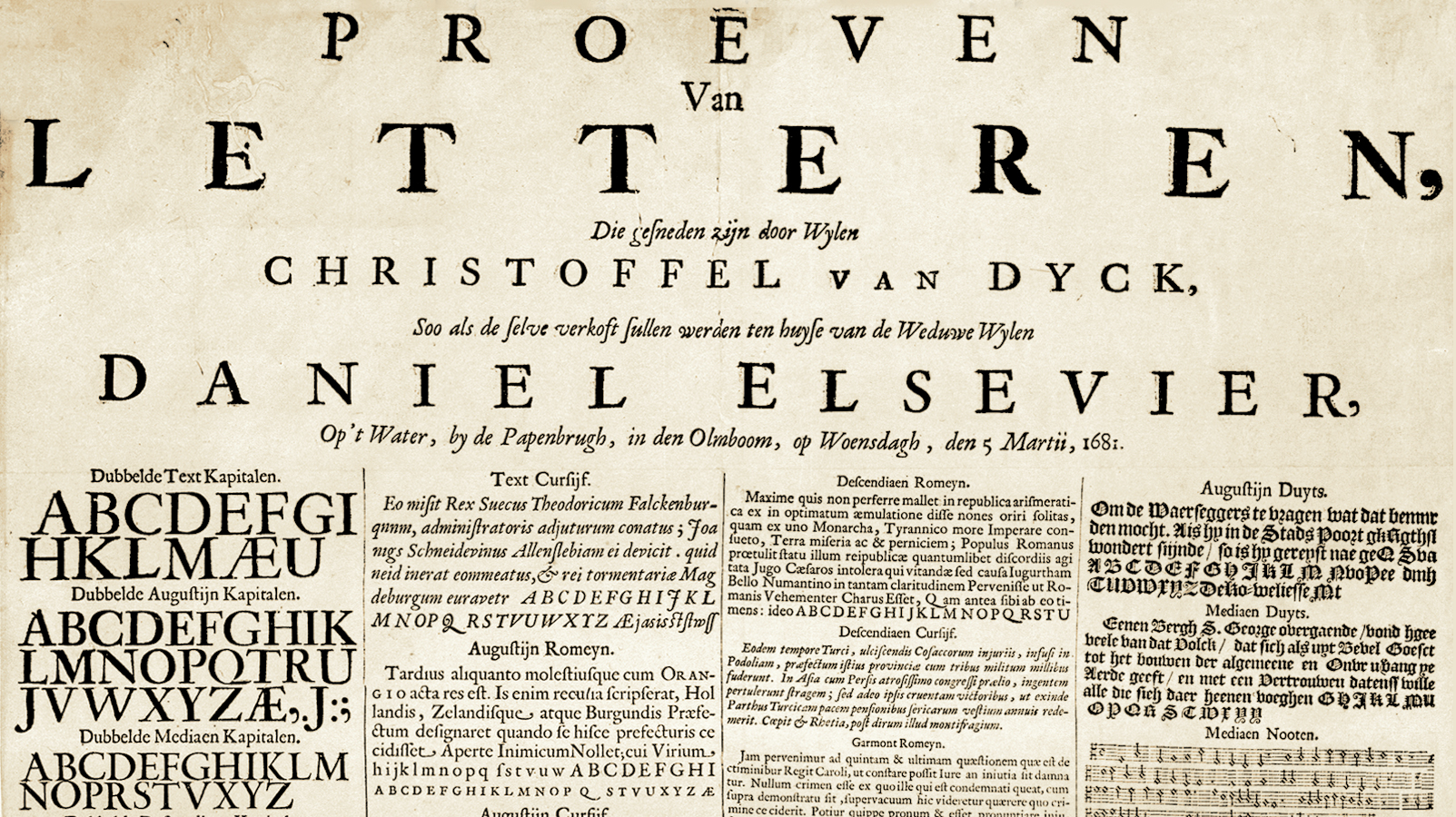 Type specimen for Christoffel van Dyck's types, available from the Elsevier widow