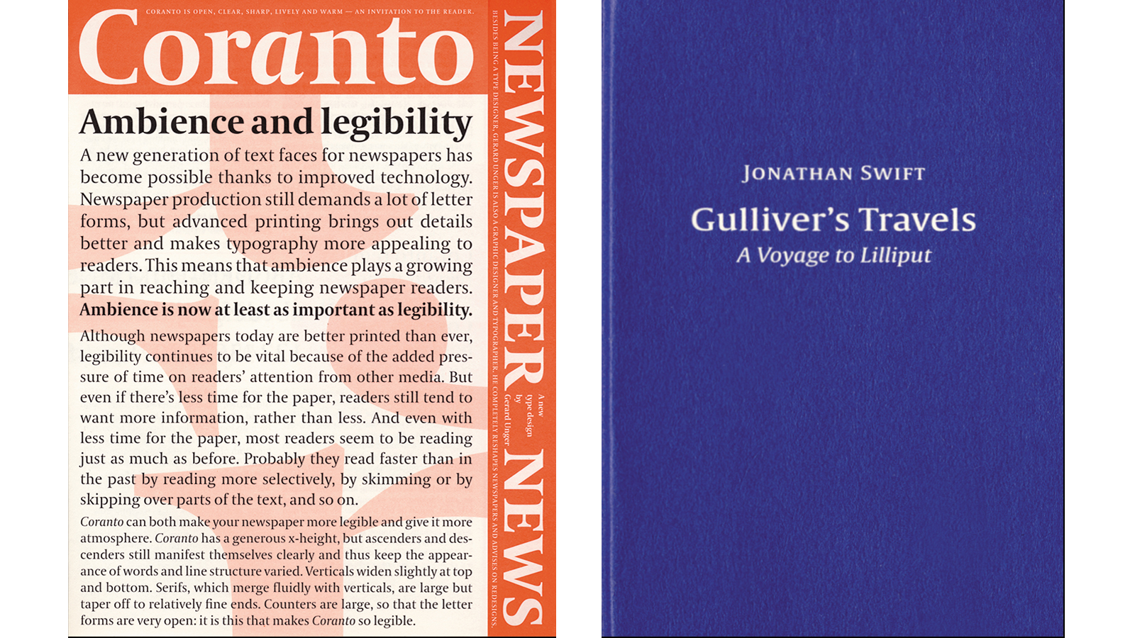 Gerard Unger, leaflet for Coranto and XS booklet for Gulliver
